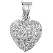 18ct white Gold 0.56ct Diamond set heart pendant